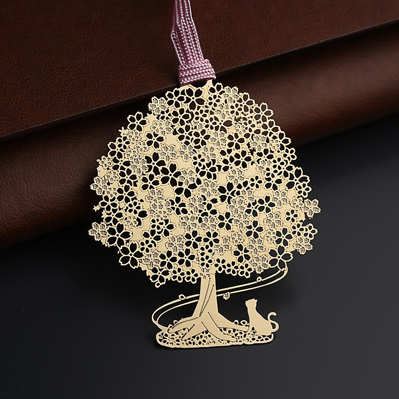 Highquality marque page cat under the tree book mark,metel feel for reading book markers,golden metal bookmarks the superyacht book page 2 page 10