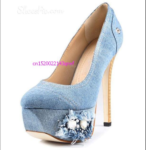 newest Hot Fashionable light blue Denim design bling bling Rhinestone and Beads Decorated sky-high Platform Heels blue sky чаша северный олень