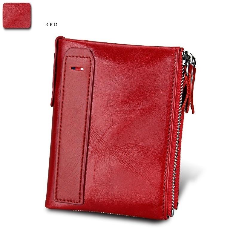 e6f74efd37ed US $19.99  cowhide Genuine Leather Women short Wallet Bifold lady ID Card  Holder Coin Purse Double Zipper Small female retro mini Purses -in Wallets  ...