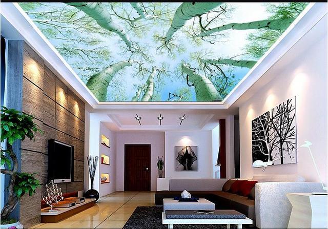 Personnalisé 3d Photo Papier Peint HD Arbres 3d Peinture Mur Plafond 3d  Paysage Papier Peint Chambre