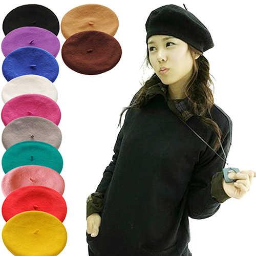 Однотонный женский берет для девочек, французский художник, теплая шерстяная зимняя шапочка, шапка 4XQT