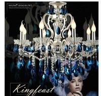 Бесплатная доставка фабрики прямые продажи современный темно синий кристалл кулон лампы переменного тока потолочный светильник люстра Об