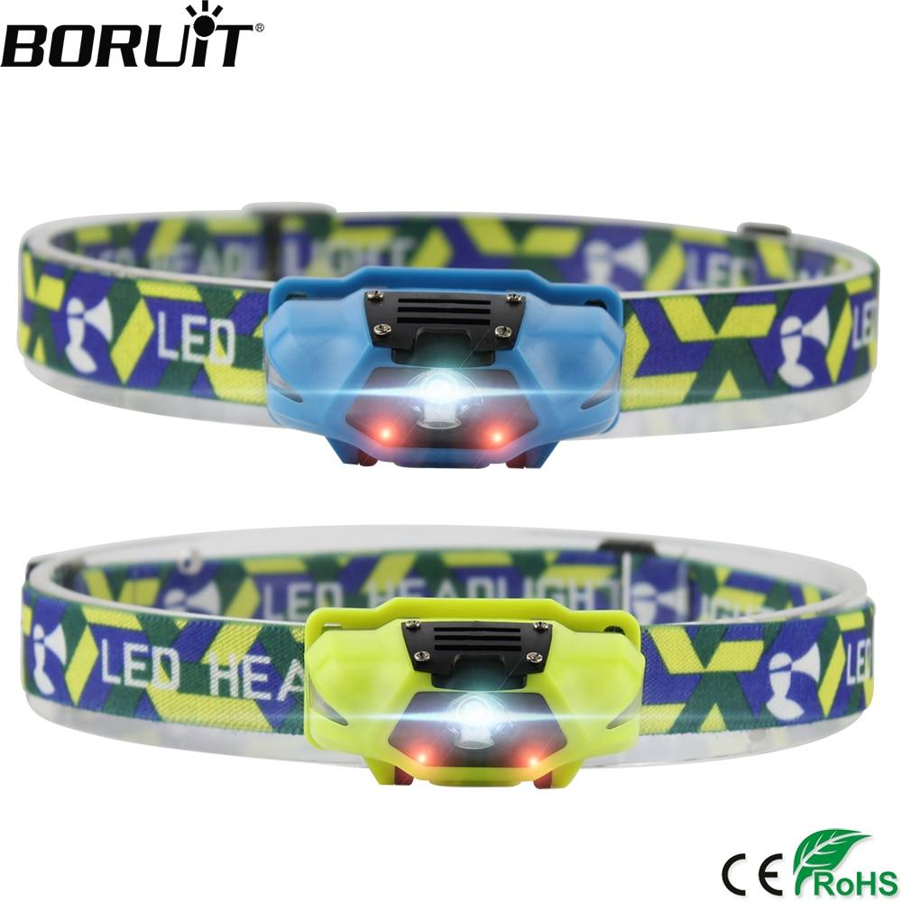 BORUIT 200LM 3W LED Mini Headlamp 4-Mode Flashlight Waterproof Headlight Hiking Camping Head Torch Hunting Frontal Lantern