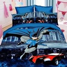 b0d9eaa6f77 2019 Batman ropa Spiderman Minions Minecraft ropa de cama estampada 3/4  piezas cama hoja juegos de funda de almohada y edredón