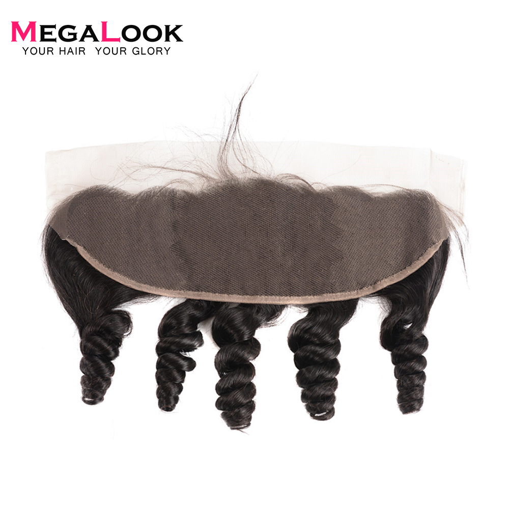 Megalook Lace-Frontal Human-Hair Brazilian with 10-22-Inch 13X4 Loose-Wave Pre-Plucked