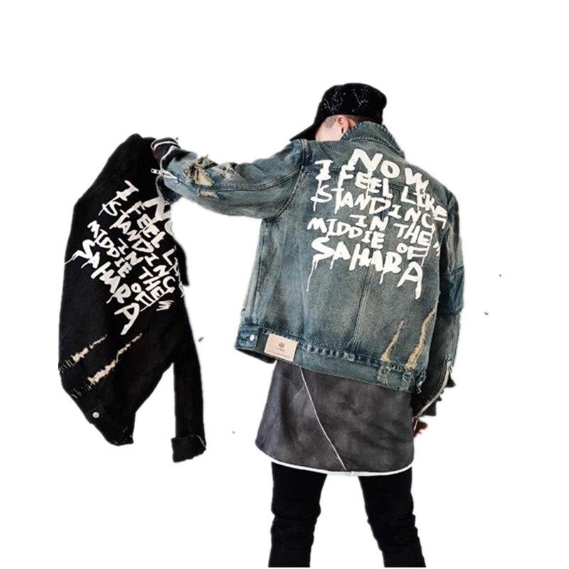 Nouveaux Jeans De Mode Veste Hommes Vestes Et Manteaux Veste En Jean Hommes Trou Vêtements Coton Jeans Veste