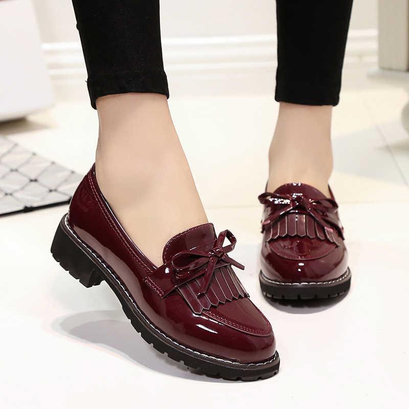 2017Hot Klasik moda ayakkabılar Kadın Rahat Sivri Burun Siyah Oxford Ayakkabı Kadınlar Flats Rahat Kadın Ayakkabı üzerinde Kayma 35- 42