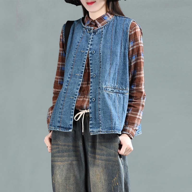 Весенний жилет Ретро женский свободный джинсовый кардиган жилет пальто топы с круглым вырезом Mori girl кнопка карман смешанные повседневные женские Топы Куртки