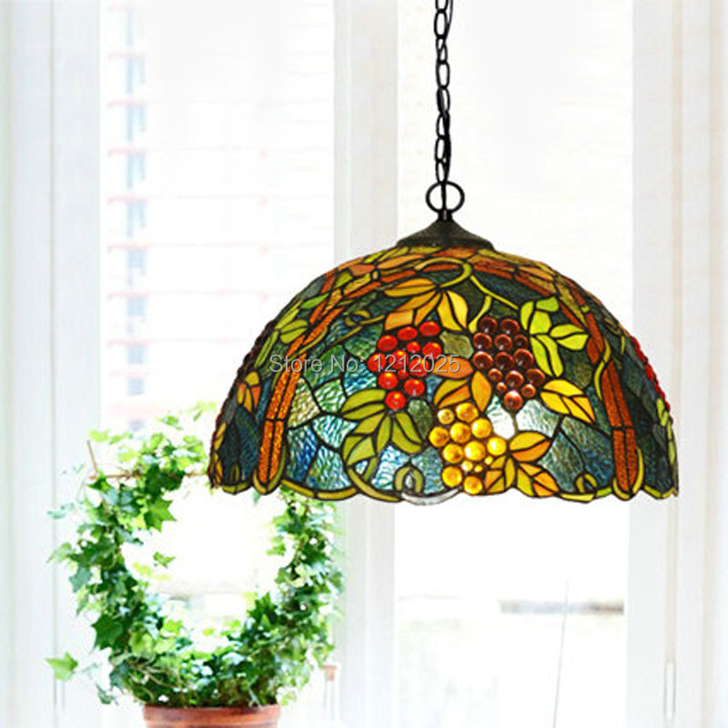 Lustre Tiffany Style Grape Pendant Lamp Dinning Light Bedroom Kitchen Stained Glass Lampshade Vintage Hanging Lamps Blue W42CM In Lights From