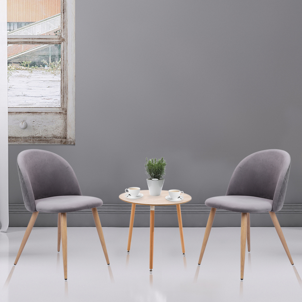 2pcs Modern Soft-clad Dining Chair Soft Comfortable Leisure Entertainment Coffee Tea Chair Adjustable Plastic Pads