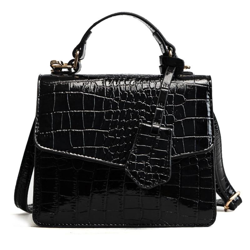 BARHEE New Alligator Flap Women Small Crossbody Bags European Fashion Crocodile Patent PU Leather Solid Handbags Sling Bags Mini