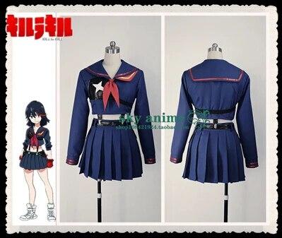 Matoi Ryuuko Cosplay Costumes Anime Kill la Kill Free Shipping (Top + Skirt + Suspender + Glove + Chest protector)