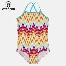 Attraco Girls' One Piece Swimsuits Flower Print Swimwear Kids Cute Bikini Adjustable Strap Beach Wear