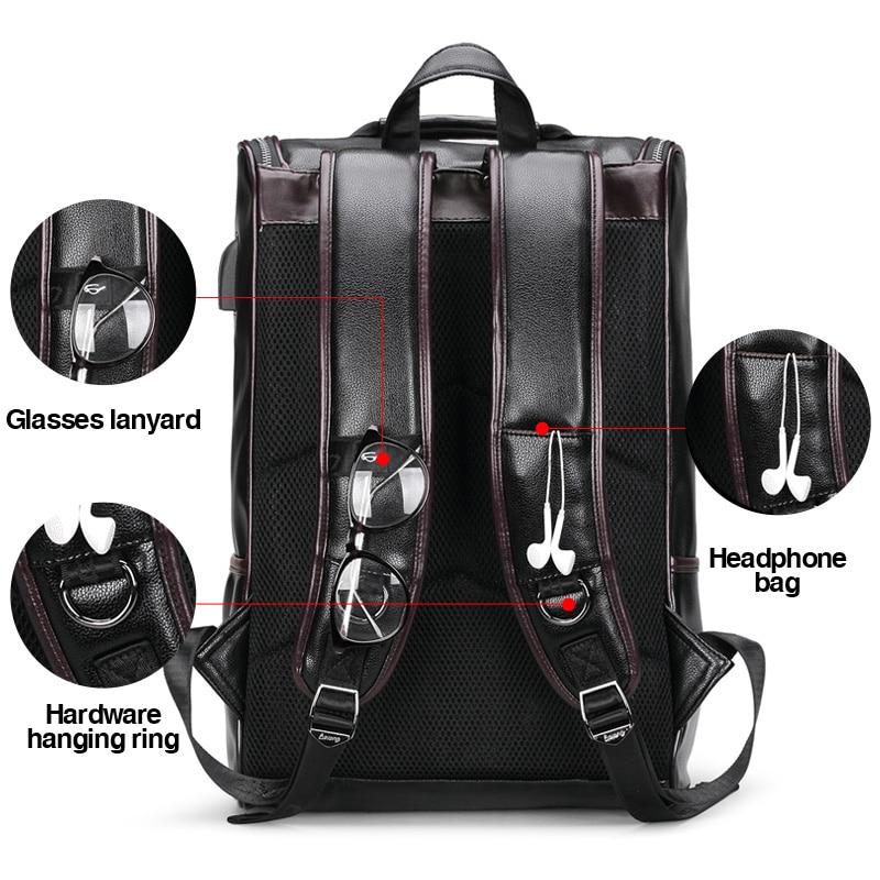 LIELANG sac à dos en cuir hommes ordinateur portable voyage sac à dos 15 pouces étanche sac à dos pour ordinateur portable USB collège Bookbag hommes mochila hombre - 3
