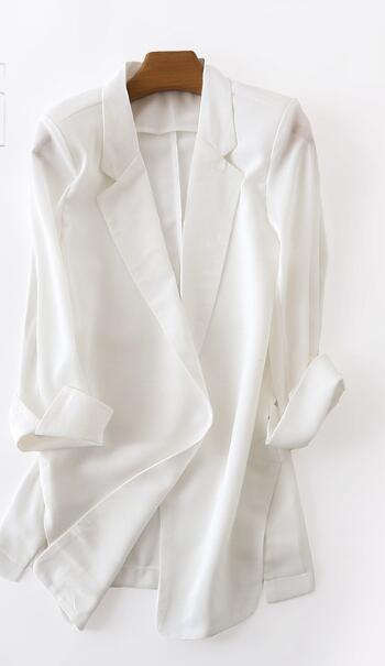 Elegant Long Blazer Women Plus Size Chiffon 2017 New Blazer Feminino Casual V-neck Three Quarter Solid Korean Style Thin White