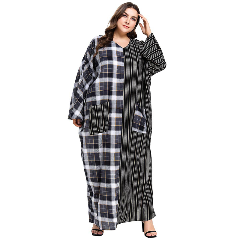 Plus Size Women Plaid Patchwork Striped Pocket Abaya Muslim Dress