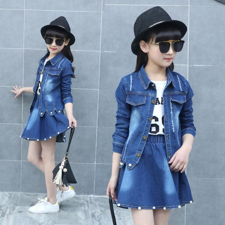 Fashion Girls Clothes Suit Set 2018 Children Autumn Spring Jeans coat +T-shirt +denim skirt 3pcs set Kids Girl Cowboy Clothing