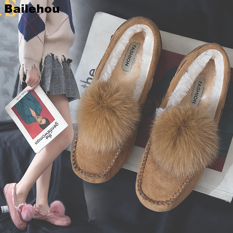 Bailehou Women Flat Shoes Real Fur Pompon Moccasins Lady Flat Comfortable Slip On Loafers Warm Shoes Soft Winter Shoes For Women цена 2017