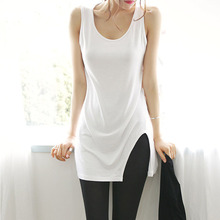 2016 New Arrival Summer Style Women Modal Casual Long Tanks Tops Sleeveless Solid Vest Beautiful Slim Tops with White and Black