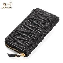 2016 Luxury Brand Women Wallet Sheepskin Women Wallet Long Patchwork Lambskin Ruched Wallet Woman Fashion Purse On Sales