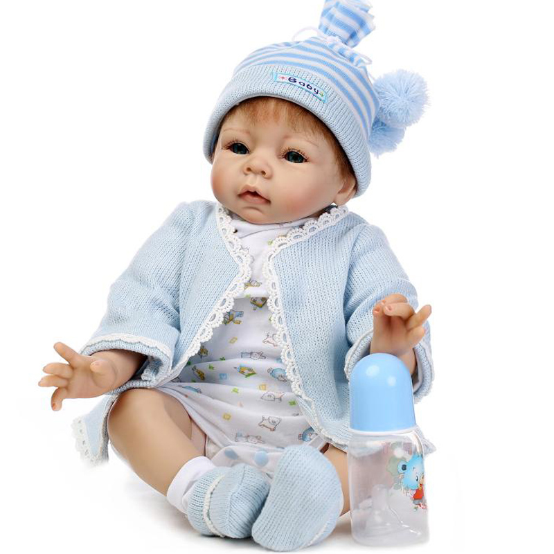 Silicone dolls reborn 22 lifelike boy reborn babies toys for girls kids gift bebe real reborn bonecas with clothing pacifier