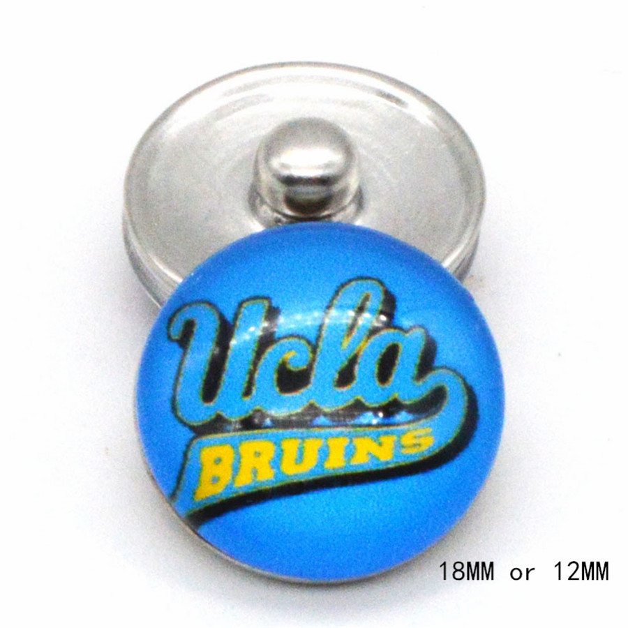 <font><b>UCLA</b></font> Bruins NCAA Basketball Sport Glass Snap Buttons 18mm 12mm Fit Snaps Snaps Bracelet&Bangle Women DIY Snap Jewelry NE1208 image