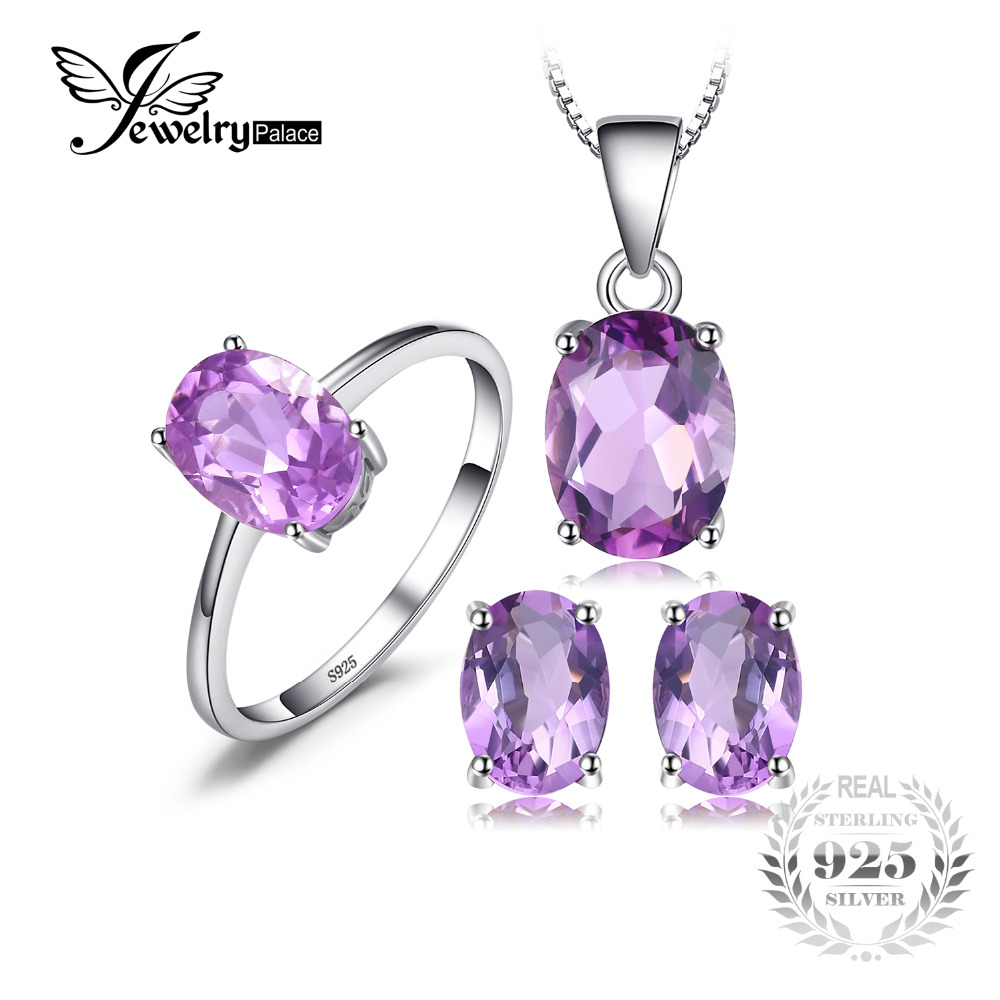 JewelryPalace Oval 4.2ct Natural Gemstone Amethyst Ring Earrings Pendant Necklace Jewelry Set 925 Sterling Silver Jewelry недорго, оригинальная цена