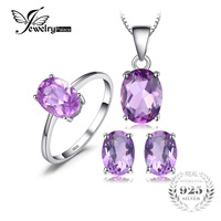 4 2ct Natrual Amethyst Ring Earring Pendant Necklace Jewelry Sets 925 Solid Sterling Silver Oval Shape