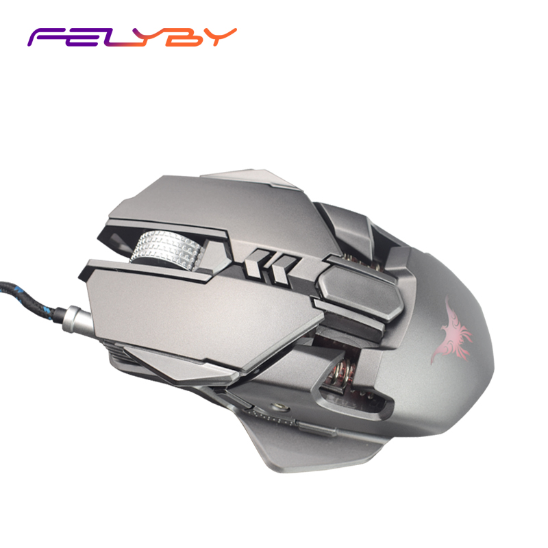FELYBY CW50 usb wired mechanical mouse 3200 DIP automatic light 4 colors 7 Buttons LED light gaming mouse for PC laptop lnk363pn dip 7