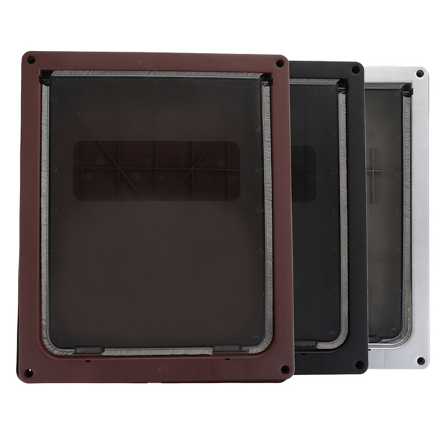 Extra Large 13.7''x11.8''x1.5''Pet Cat Dog Lockable Flap Door Gate Telescoping Frame Transparent Magnetic Closure Design Doors 4