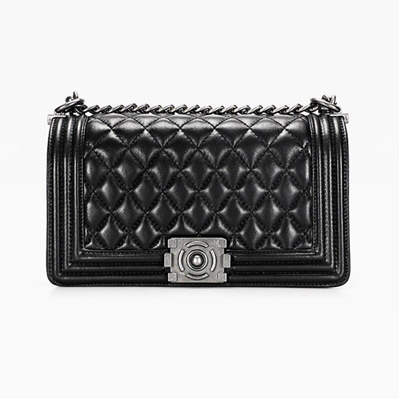 Flap Bag sheepskin classic women's bag genuine leather rhombus bag single shoulder Messenger Bag Chain Plaid Lady handbag все цены