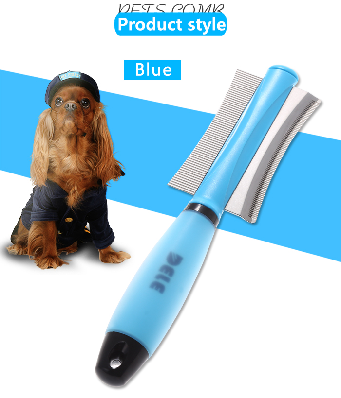 KIMHOME Dog Cat Removal Hairs Comb Brush Fur Shedding Trimming Blue Pink Dual Purpose Pet Grooming Tool Wholesale 6