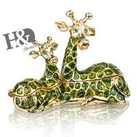 H&D Women's Fashion Sitting Giraffe Mom With Baby Jewelled Trinket Box Decorative Metal Jewelry Box For Chrismas Gift Home Decor