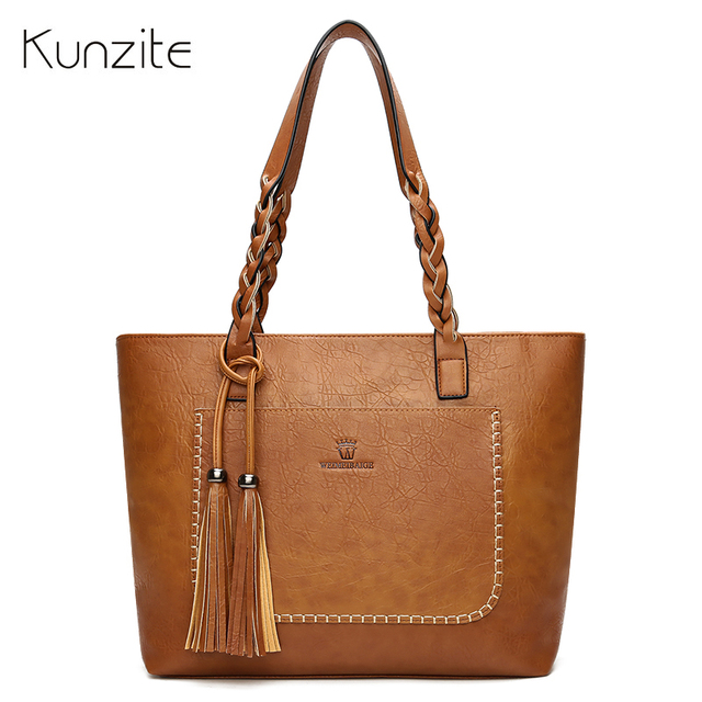 8d851b6fa6 Kunzite wholesale PU Leather Tassel Handbags Women Purse Shopper Totes Luxury  Designer sac a main Vintage Fashion Shoulder Bags