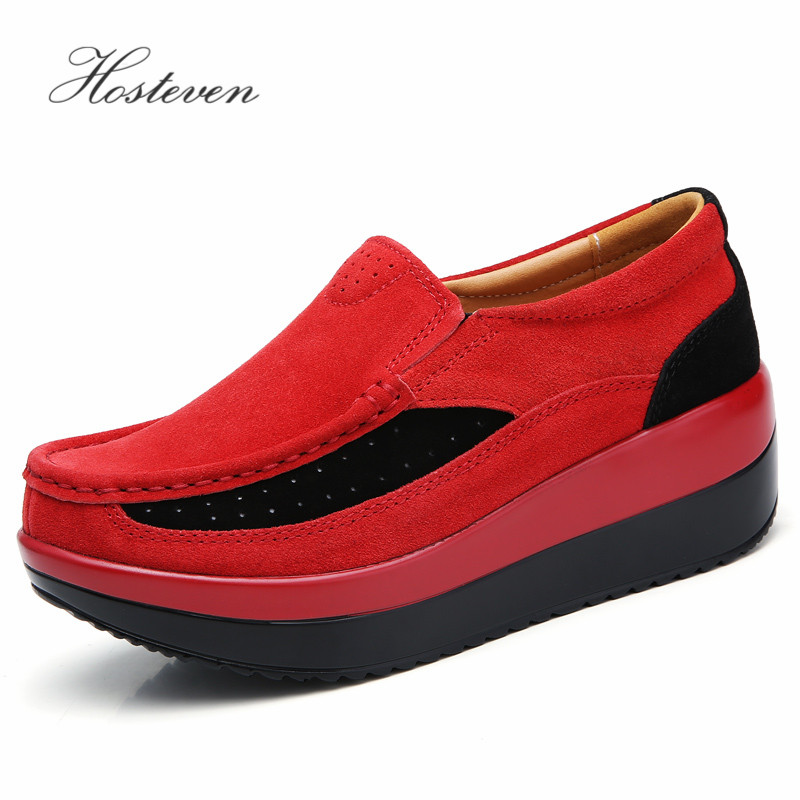 Image 3 - Hosteven Women's Shoes Flat Sneakers Ballet Genuine Leather Platform Woman Shoes Slip On Female Women's Loafers Moccasins Shoe-in Women's Flats from Shoes