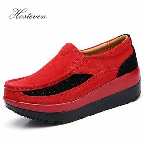 Image 3 - Hosteven kadın ayakkabısı Düz Ayakkabı Bale Hakiki Deri Platformu Kadın Ayakkabı Üzerinde Kayma Kadın kadın Loaferlar Moccasins Ayakkabı