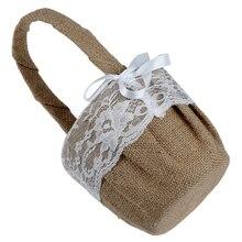 AIMA Vintage encaje retro Bow boda flor niña cesta