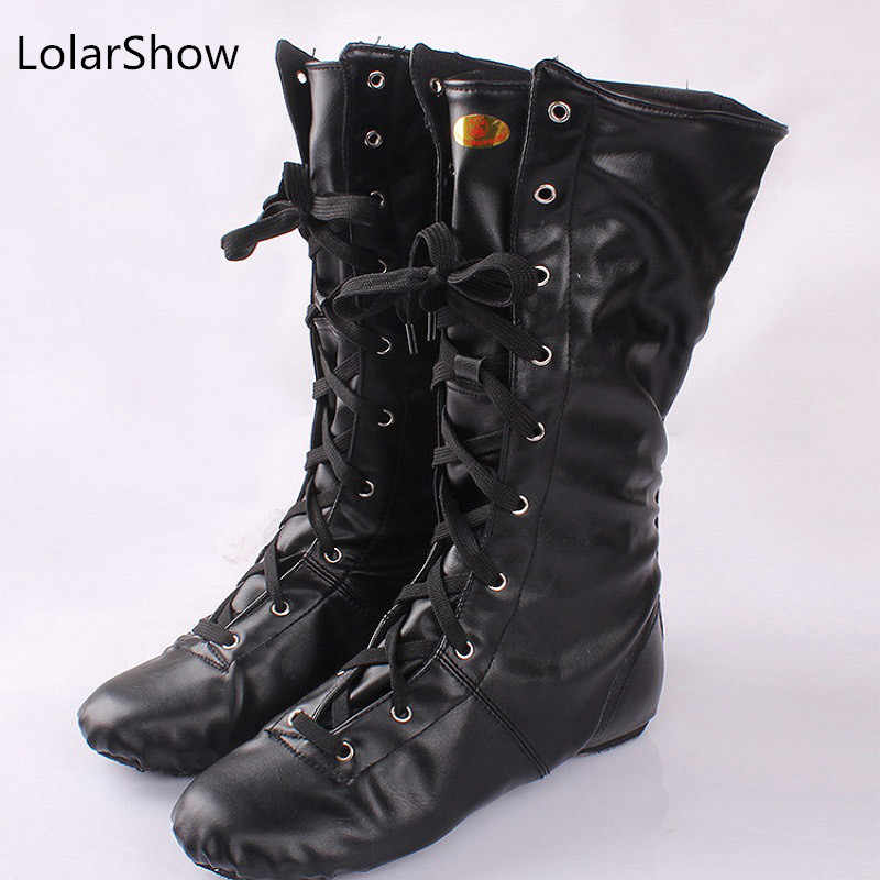 ac3fa4cd2efab Detail Feedback Questions about Adult black unisex cow leather two sole  dancing shoes for women long upper children jazz boots men jazz dance  sneakers on ...