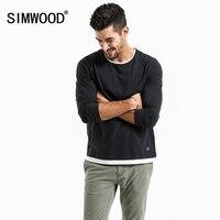 Simwood 2018 ربيع جديد وهمية مزدوجة الطبقات شيرت الرجال طويلة الأكمام 100% القطن أزياء قمم عالية الجودة يتأهل المحملات 180109