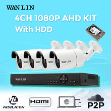 WANLIN CCTV System 4CH 1080P AHD DVR Kit 4PCS Waterproof Outdoor SONY IMX323 2.0MP AHD Security System Video Surveillance Camera