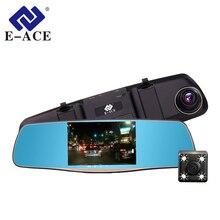 E-ACE Videocamera per auto 5 Pollici Dvr Con La Macchina Fotografica Doppia Lente Full HD 1080 P 30FPS Video Registratory Specchietto retrovisore Dashcam di Notte visione