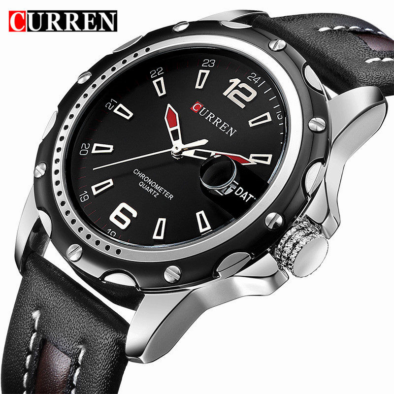 Prix pour Relogio masculino curren montres hommes marque de luxe en cuir noir montre à quartz hommes de mode casual sport horloge montre-bracelet montres