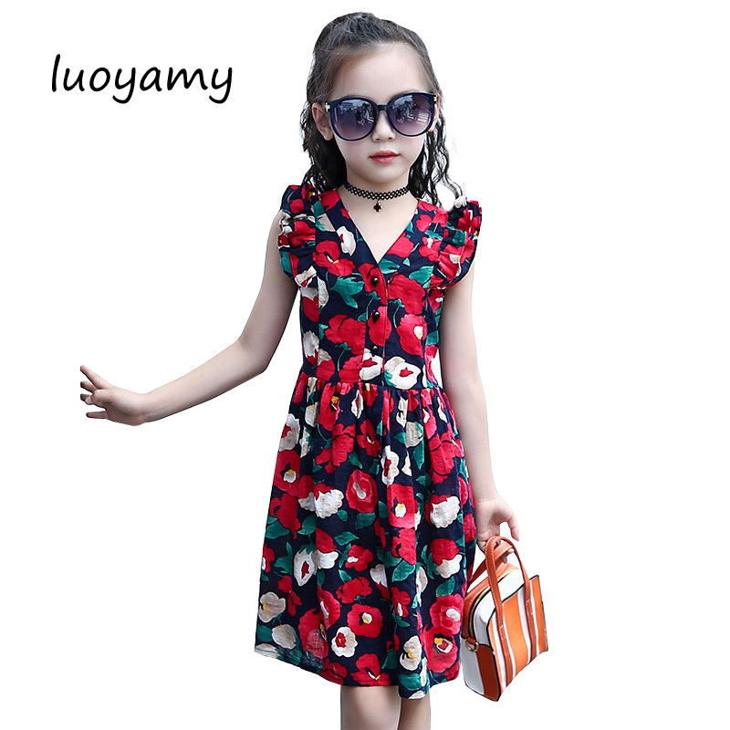 luoyamy Baby Girls Floral V-neck Beach Dress 2017 Summer Printed Clothing Children Party And Wedding Kids Bow Princess Dresses luoyamy 2017 summer style girls children striped patchwork dress baby party next clothing kids princess cute dresses