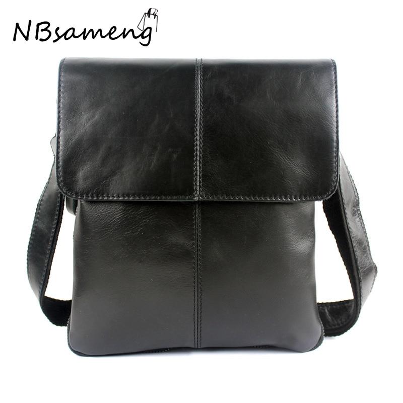 ФОТО  100% Genuine Cowhide Leather Shoulder Bag For Men Bussiness Crossbody Bags Bolsa Feminina Briefcase 2017 New Fashion Men's Bag