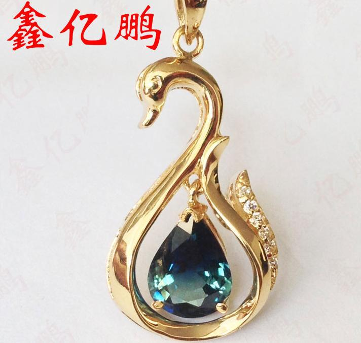 18 k gold inlaid natural sapphire pendant female Fashion and personality The fire color jewelry authentic boutique