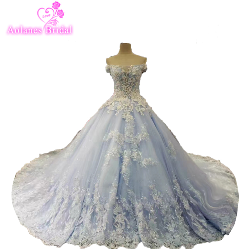 Hot Sale Special Lace Design Wedding Dress Blue And Ivory Color Bridal Gown Long Sleeves Wedding Gown Factory Directly Ball Gown