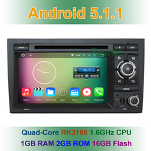 Quad Core HD 1024*600 Android 5.1.1 Car DVD Radio Player GPS for Audi A4 2007 2006 2005 2004 2003 2002 Seat Exeo with BT WiFi