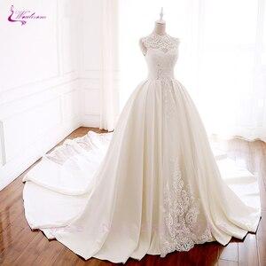 Image 3 - Luxury Mesh GORGEOUS Beadings and Grid element Elegant Lace Waulizane  Wedding Dresses O Neckline Bride Dresses