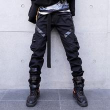 Hot Fashion Leather Splice Cargo Pants Men High Street Casual Trousers Hip Hop Black Slim Harem