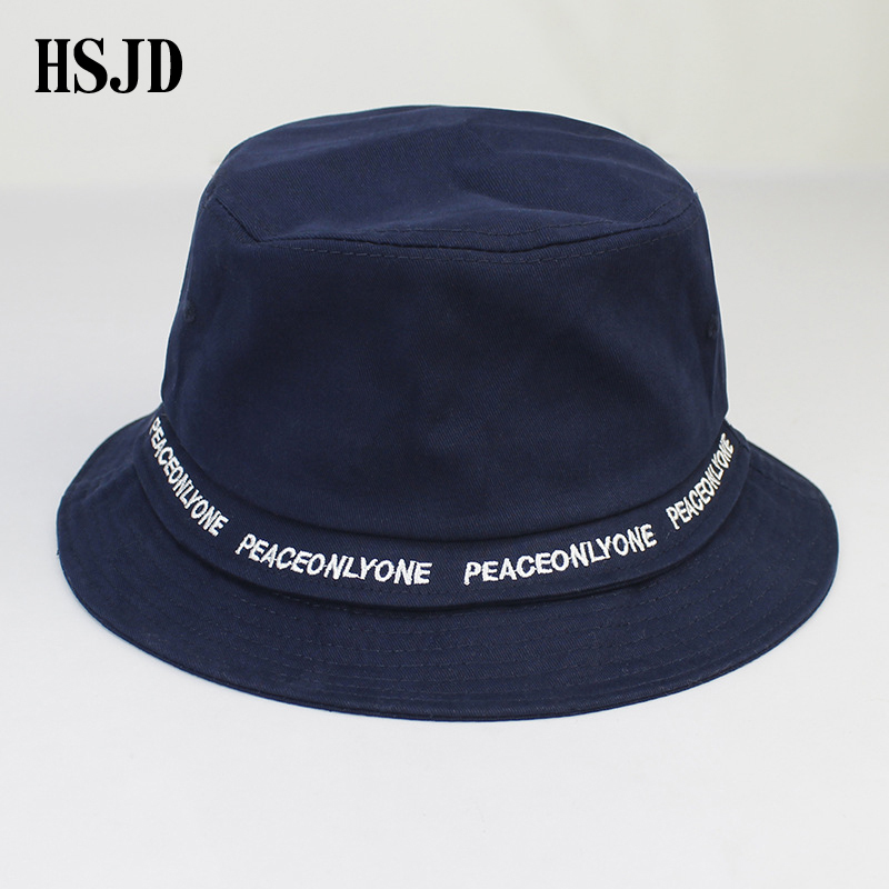 f8285956682 2018 Plain Solid Colors Belt Bucket Hats for Women Men Summer Panama Cap  Spring female Cotton Ourdoor Letter Fishing hat Visor -in Bucket Hats from  Apparel ...
